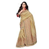 Brown Silk Designer Embroidered Saree