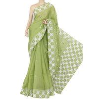Menhdi Green Lucknowi Chikankari Saree
