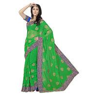Marvellous Green and Blue Designer Saree
