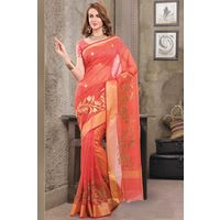 Peach Weaved Cot Silk Saree