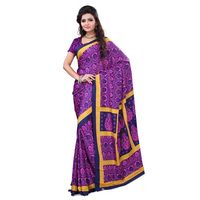 Navy Blue & Pink Crepe Printed Saree