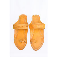 Yellow Leather Kolhapuri Chappal, 4