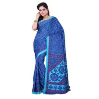 Sky Blue & Blue Crepe Printed Saree