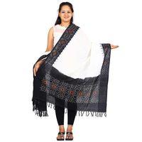 Black and White Ikat Cotton Dupatta