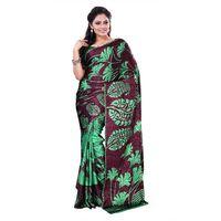 Green & Brown Crepe Printed Saree