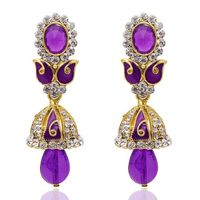 Kriaa Austrian Diamond Purple Meenakari Jhumki Style Earrings