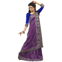 Purple Bhagalpuri Silk Embroidery Saree