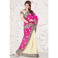 White Georgette Weaved Saree