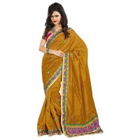 Light Yellow & Pink Bhagalpuri Silk Saree