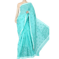Sea Green Lucknowi Chikankari Saree