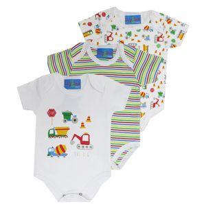 Colourful 3 Pcs Set Bodysuit, baby girl