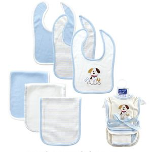6 pc Bib & Burp Cloth Set-Dog, baby neutral