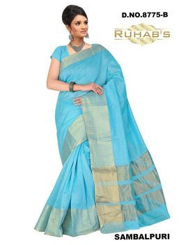 Ruhabs Light Blue Saree With Golden Border, cotton, r-re-8775b, kanjiwaram