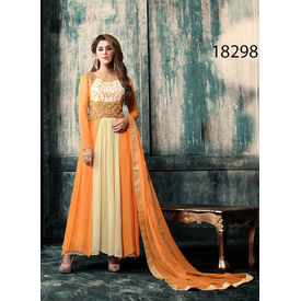 Orange And Beige Colored Faux Georgette Suit.