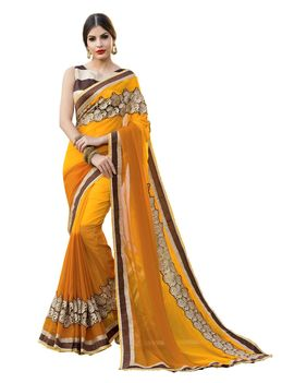 Ruhabs yellow colour half & half pure georgette saree with brown blouse