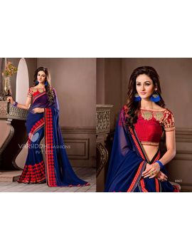Ruhabs Violet Colour Georgette Saree With Red Blouse