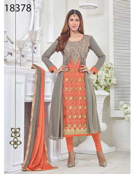 Ruhabs Grey And Orange Colored Georgette Suit.