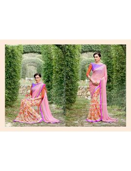 Ruhabs Light Pink Colour Georgette Saree With Purple Blouse
