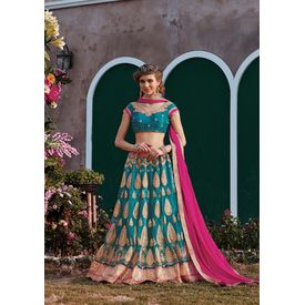 RUHABS DARK GREEN COLOUR LEHENGA WITH NET BLOUSE & PINK DUPATTA