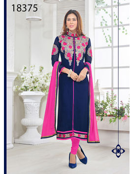 Ruhabs Blue Colored Georgette Suit.