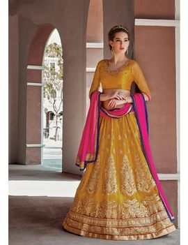 RUHABS YELLOW COLOUR LEHENGA WITH NET BLOUSE & PINK DUPATTA
