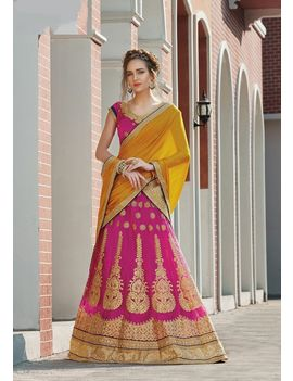 RUHABS PINK COLOUR LEHENGA WITH NET BLOUSE & LIGHT YELLOW DUPATTA