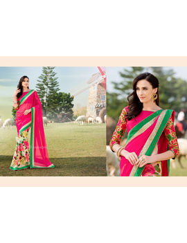 Ruhabs Pink Colour Georgette Saree With Pink Blouse