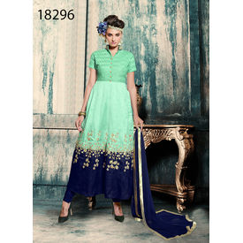 Green And Blue Colored Banglori Silk Suit.