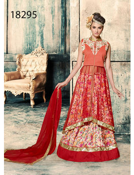 Red And Orange Colored Net And Banglori Silk Suit.
