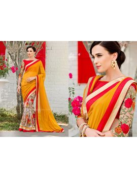 Ruhabs Yellow Colour Georgette Saree With Red Blouse