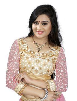 Ruhabs Pink Party Wear Lehnga Sanskar Style, net, r-san-7335h, thread and moti work