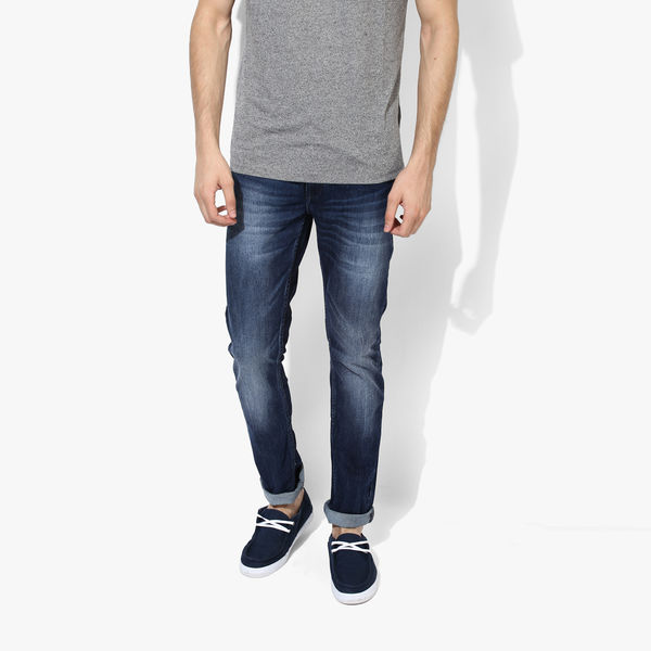 Spykar Low Rise Narrow Fit Jeans, 34,  blue