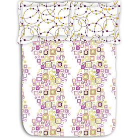 Geometric shape printed cotton double bed sheet