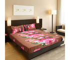 Welhouse India Beautiful Floral Design 1 Double Bedsheet & 2 Pillow Covers, brown and pink