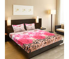 Welhouse India Beautiful Floral Design 1 Double Bedsheet & 2 Pillow Covers, pink