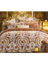 Welhouse India Cotton Damask Design King Bedsheet With two pillow cover (AZR051), multicolor