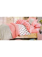 Welhouse India Stripes Print Cotton King Bedsheet with two pillow covers (AZR022), multicolor