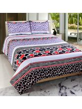 Welhouse India Premium 3D Double Bed Sheet With 2 Pillow Cover (TRT-028), multicolor