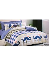 Welhouse India check luv u Print Cotton King Bedsheet with two pillow covers (AZR020), multicolor