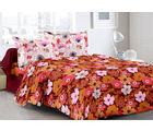 Welhouse Maroon & Floral Design Super Soft Cotton Double Bedsheet With 2 Contrast Pillow Cover-Best Tc-175, maroon