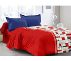 Welhouse & Checke Design Super Soft Feeling Double Bedsheet With 2 Contrast Pillow Cover-Best Tc-175, red