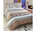 Welhouse India Premium 3D Double Bed Sheet With 2 Pillow Cover (TRT-013), multicolor