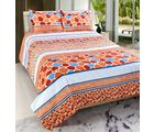 Welhouse India Premium 3D Double Bed Sheet With 2 Pillow Cover (TRT-015), multicolor