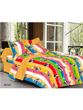 Welhouse India Double Bed Sheet & 4 Pillow Covers (MT_ YTD-074), multicolor