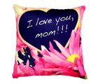Welhouse India Gift For I Love U Mom Floral Design Cushion Cover (VL_ CU-008), multicolor