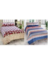 Welhouse India Cotton Combo Of 2 Double Bed Sheet With 4 Pillow Cover (CO_ TRT-13), multicolor