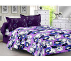 Welhouse & Floral Design Super Soft Cotton Double Bedsheet With 2 Contrast Pillow Cover-Best Tc-175, purple