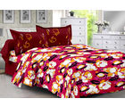 Welhouse Maroon & Floral Design Herbal Cotton Double Bedsheet With 2 Contrast Pillow Cover-Best Tc-175, maroon