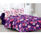 Welhouse & Floral Design 100% Cotton Double Bedsheet With 2 Contrast Pillow Cover-Best Tc-175, purple