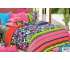 Welhouse India Flowery Print Cotton King Bedsheet with two pillow covers (AZR029), multicolor